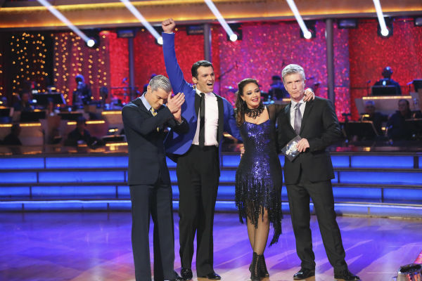 "<div class=""meta image-caption""><div class=""origin-logo origin-image ""><span></span></div><span class=""caption-text"">Leah Remini and Tony Dovolani react to being safe on week nine of 'Dancing With The Stars' on Nov. 11, 2013. They received 27 out of 30 points from the judges for their Tango. The two later received 27 out of 30 during the trio round with Henry Byalikov. (ABC Photo / Adam Taylor)</span></div>"