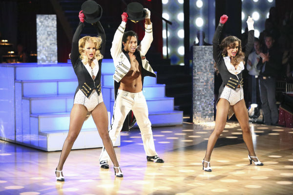 "<div class=""meta ""><span class=""caption-text "">Corbin Bleu and Karina Smirnoff danced Jazz with Whitney Carson and received 30 out of 30 during the trio round on week nine of 'Dancing With The Stars' on Nov. 11, 2013. Earlier in the episode the two received 28 out of 30 for their Viennese Waltz. (ABC Photo / Adam Taylor)</span></div>"