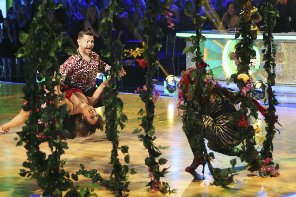 Jack Osbourne and Cheryl Burke danced the Samba with Sharna Burgess and received 27 out of 30 during the trio round on week nine of &#39;Dancing With The Stars&#39; on Nov. 11, 2013. Earlier in the episode the two received 29 out of 30 for their Viennese Waltz. <span class=meta>(ABC Photo &#47; Adam Taylor)</span>