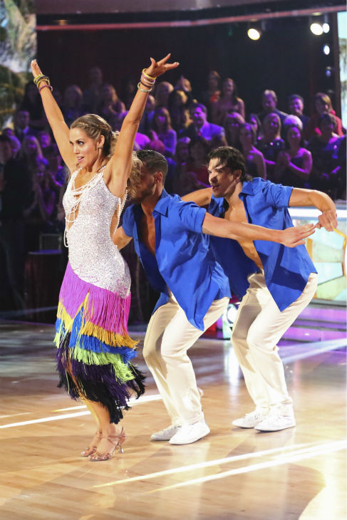 Elizabeth Berkley and Val Chmerkovskiy dance the Salsa with Gleb Savchenko and received 30 out of 30 during the trio round on week nine of &#39;Dancing With The Stars&#39; on Nov. 11, 2013. They received 25 out of 30 points from the judges.  Earlier in the episode the two received 26 out of 30 for their Viennese Waltz. <span class=meta>(ABC Photo &#47; Adam Taylor)</span>