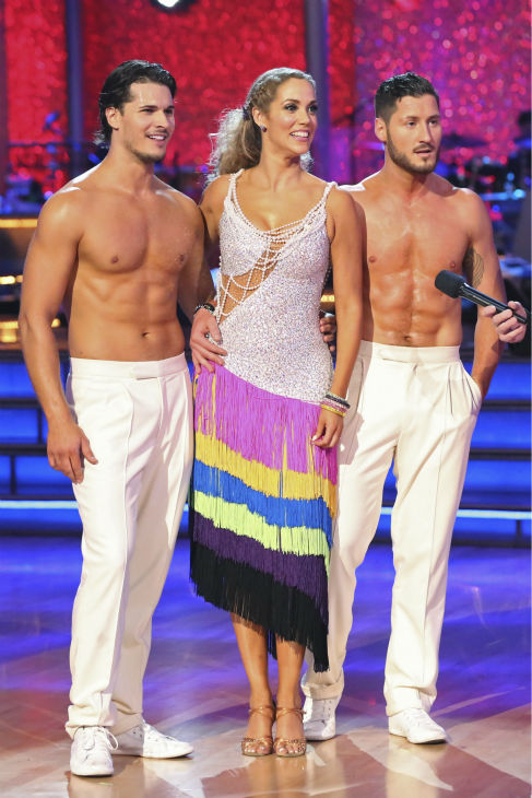 Elizabeth Berkley and Val Chmerkovskiy danced the Salsa with Gleb Savchenko and received 30 out of 30 during the trio round on week nine of &#39;Dancing With The Stars&#39; on Nov. 11, 2013. They received 25 out of 30 points from the judges.  Earlier in the episode the two received 26 out of 30 for their Viennese Waltz. <span class=meta>(ABC Photo &#47; Adam Taylor)</span>