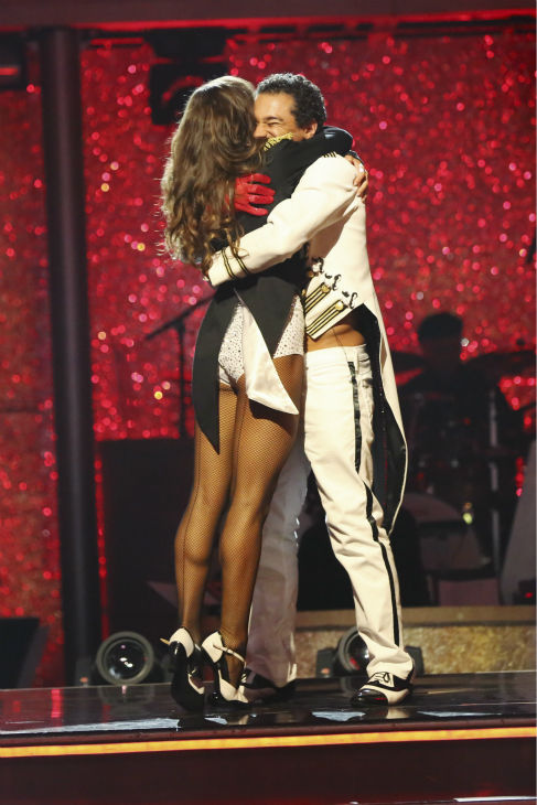 Corbin Bleu and Karina Smirnoff react to being safe on week nine of &#39;Dancing With The Stars&#39; on Nov. 11, 2013. They received 27 out of 30 points from the judges for their Waltz. The two later received 30 out of 30 during the trio round with Witney Carson. <span class=meta>(ABC Photo &#47; Adam Taylor)</span>
