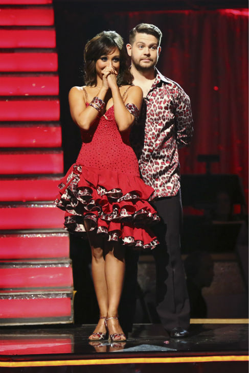 Jack Osbourne and Cheryl Burke await their fate on week nine of &#39;Dancing With The Stars&#39; on Nov. 11, 2013. They received 29 out of 30 points from the judges for their Viennese Waltz. The two later received 25 out of 30 during the trio round with Sharna Burgess. <span class=meta>(ABC Photo &#47; Adam Taylor)</span>