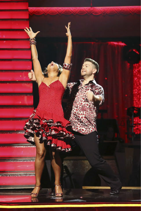 "<div class=""meta ""><span class=""caption-text "">Jack Osbourne and Cheryl Burke react to being safe on week nine of 'Dancing With The Stars' on Nov. 11, 2013. They received 29 out of 30 points from the judges for their Viennese Waltz. The two later received 25 out of 30 during the trio round with Sharna Burgess. (ABC Photo / Adam Taylor)</span></div>"