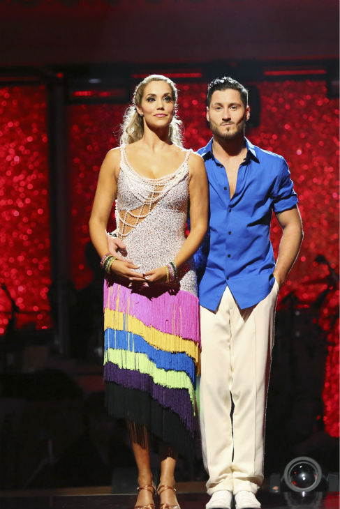 "<div class=""meta ""><span class=""caption-text "">Elizabeth Berkley and Val Chmerkovskiy await their fate on week nine of 'Dancing With The Stars' on Nov. 11, 2013. They received 26 out of 30 points from the judges for their Viennese Waltz routine. The two later received 30 out of 30 during the trio round with Gleb Savchenko. (ABC Photo / Adam Taylor)</span></div>"