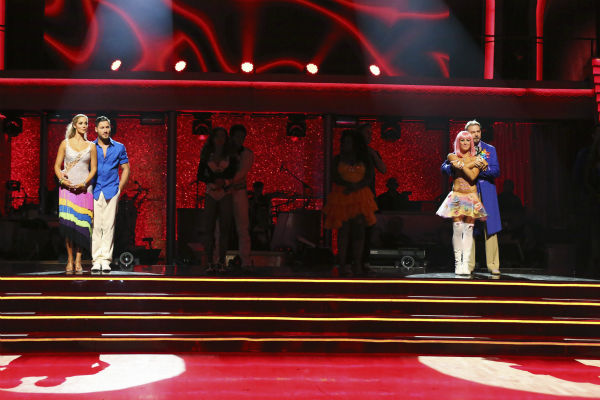 Elizabeth Berkley and Val Chmerkovskiy and Bill Engvall and Emma Slater await their fate on week nine of &#39;Dancing With The Stars&#39; on Nov. 11, 2013. <span class=meta>(ABC Photo &#47; Adam Taylor)</span>