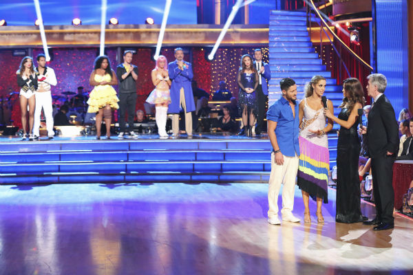 "<div class=""meta image-caption""><div class=""origin-logo origin-image ""><span></span></div><span class=""caption-text"">Elizabeth Berkley and Val Chmerkovskiy react to being eliminated on week nine of 'Dancing With The Stars' on Nov. 11, 2013. They received 26 out of 30 points from the judges for their Viennese Waltz routine. The two later received 30 out of 30 during the trio round with Gleb Savchenko. (ABC Photo / Adam Taylor)</span></div>"