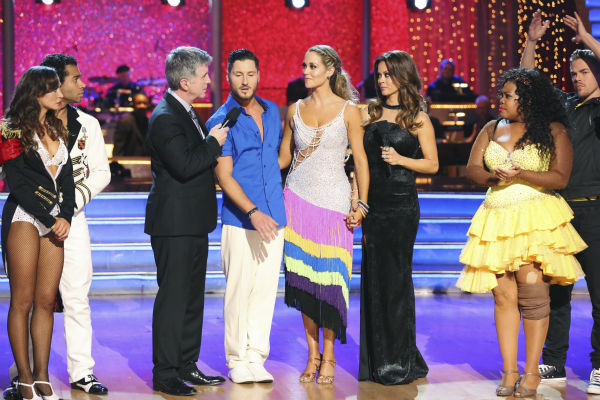 Elizabeth Berkley and Val Chmerkovskiy react to being eliminated on week nine of &#39;Dancing With The Stars&#39; on Nov. 11, 2013. They received 26 out of 30 points from the judges for their Viennese Waltz routine. The two later received 30 out of 30 during the trio round with Gleb Savchenko. <span class=meta>(ABC Photo &#47; Adam Taylor)</span>