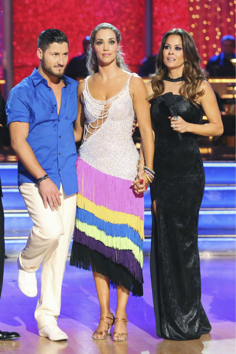 "<div class=""meta ""><span class=""caption-text "">Elizabeth Berkley and Val Chmerkovskiy react to being eliminated on week nine of 'Dancing With The Stars' on Nov. 11, 2013. They received 26 out of 30 points from the judges for their Viennese Waltz routine. The two later received 30 out of 30 during the trio round with Gleb Savchenko. (ABC Photo / Adam Taylor)</span></div>"