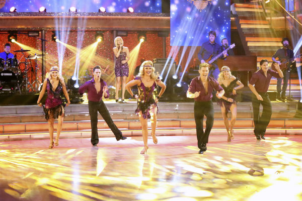 Kellie Pickler sings her hit song 'Little Bit Gypsy' on 'Dancing With The Stars'week 11, the pre-finale of season 17, on Nov. 25, 2013 as the show's ensemble dancers perform.