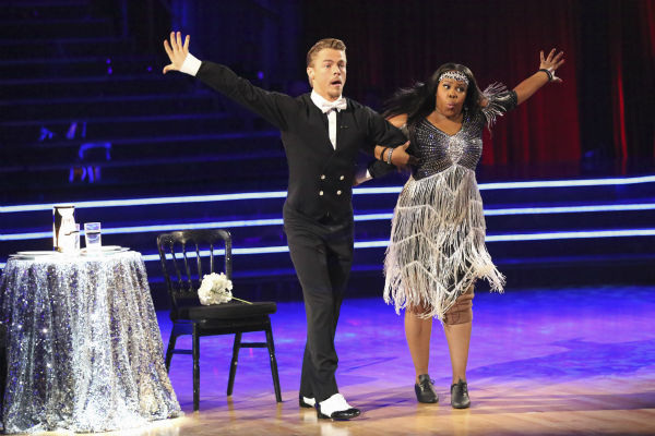 Amber Riley and Derek Hough dance their &#39;Judges&#39; Pick&#39; Charleston on week 11 of &#39;Dancing With The Stars&#39; on Nov. 25, 2013. They received 30 out of 30 points from the judges. The two scored a total of 64 out of 65 points for the night. <span class=meta>(ABC Photo &#47; Adam Taylor)</span>