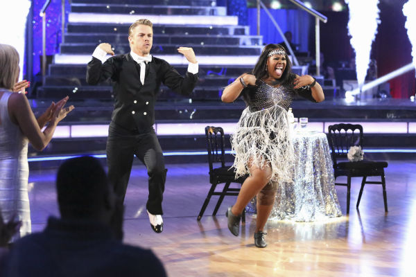 "<div class=""meta image-caption""><div class=""origin-logo origin-image ""><span></span></div><span class=""caption-text"">Amber Riley and Derek Hough dance their 'Judges' Pick' Charleston on week 11 of 'Dancing With The Stars' on Nov. 25, 2013. They received 30 out of 30 points from the judges. The two scored a total of 64 out of 65 points for the night. (ABC Photo / Adam Taylor)</span></div>"