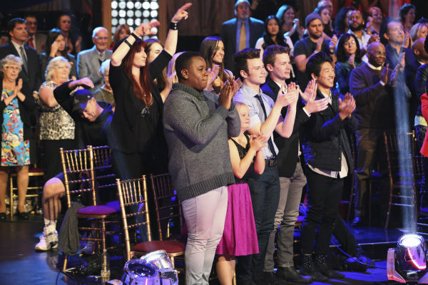 &#39;Glee&#39; stars Alex Newell, Lauren Potter, Chris Colfer and Damian McGinty cheer on show alum Amber Riley as she competes in the &#39;Dancing With The Stars&#39; season 17 finals with partner Derek Hough on Nov. 25, 2013. <span class=meta>(ABC Photo &#47; Adam Taylor)</span>