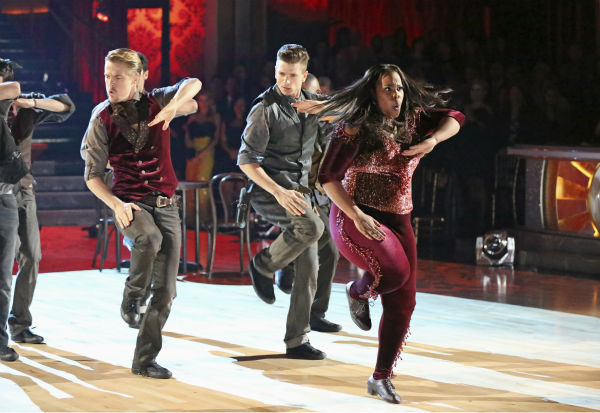 Amber Riley and Derek Hough dance their Freestyle on week 11 of 'Dancing With The Stars' on Nov. 25, 2013.