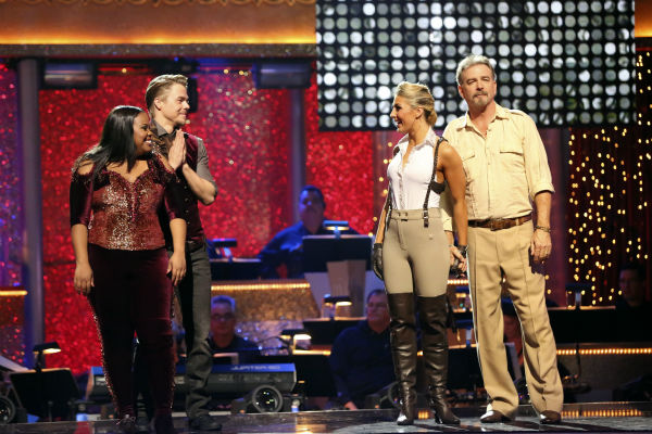 "<div class=""meta ""><span class=""caption-text "">Amber Riley and Derek Hough and Bill Engvall and Emma Slater await their fate on 'Dancing With The Stars' week 11 on Nov. 25, 2013. (ABC Photo / Adam Taylor)</span></div>"