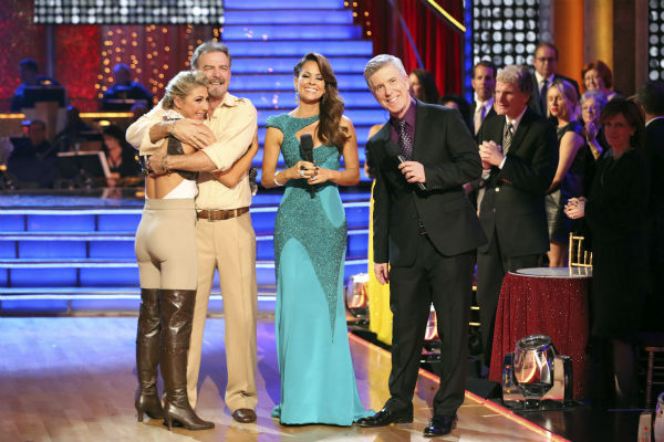 "<div class=""meta ""><span class=""caption-text "">Bill Engvall and Emma Slater react to being eliminated on week 11 of 'Dancing With The Stars' on Nov. 25, 2013. The two scored a total of 51 out of 65 points for the night. (Photo/Adam Taylor)</span></div>"