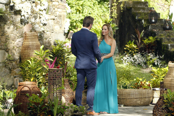 "<div class=""meta image-caption""><div class=""origin-logo origin-image ""><span></span></div><span class=""caption-text"">Clare, one of two remaining finalists, looks into the eyes of star Juan Pablo Galavis in St. Lucia in a scene from the season 18 finale of ABC's 'The Bachelor,' which aired on March 10, 2014. She is expecting a proposal. (ABC Photo / Rick Rowell)</span></div>"
