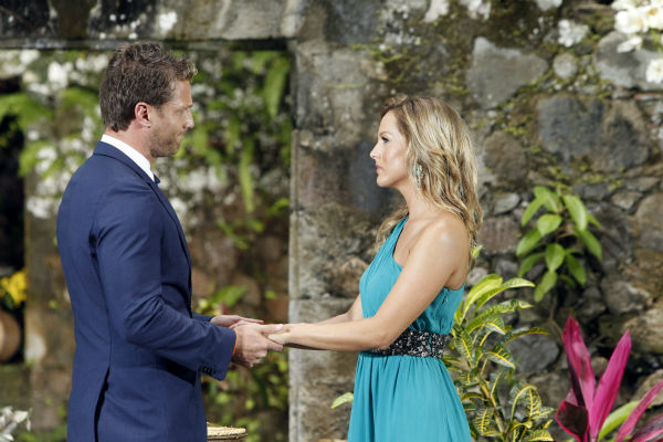 Clare, one of two remaining finalists, looks into the eyes of star Juan Pablo Galavis in St. Lucia in a scene from the season 18 finale of ABC&#39;s &#39;The Bachelor,&#39; which aired on March 10, 2014. He has just rejected her on national television.  <span class=meta>(ABC Photo &#47; Rick Rowell)</span>