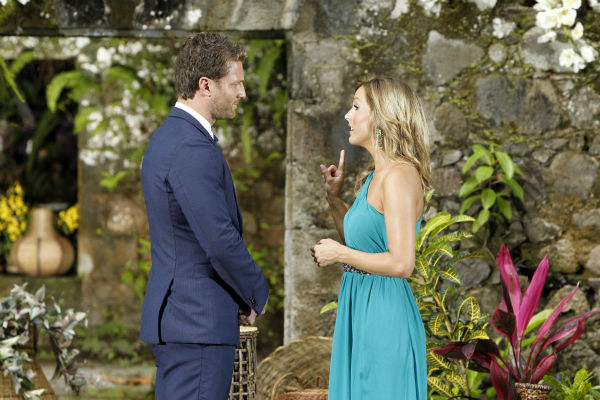 Clare, one of two remaining finalists, tells star Juan Pablo Galavis off after he rejected her, in a scene from the season 18 finale of ABC&#39;s &#39;The Bachelor,&#39; which aired on March 10, 2014. After seemingly forgiving him for an &#39;offensive&#39; off-camera comment, she finally stands up for herself. <span class=meta>(ABC Photo &#47; Rick Rowell)</span>