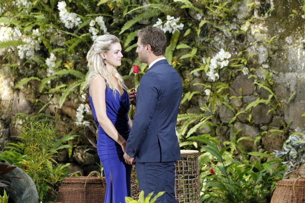 Star Juan Pablo Galavis asks Nikki, the winner, if she would accept his finale rose in St. Lucia in a scene from the season 18 finale of ABC&#39;s &#39;The Bachelor,&#39; which aired on March 10, 2014. She does. He told her he had a RING IN HIS POCKET but would not give it to her because her DAD told him he should only propose if he was 100 percent sure. However, she did receive a final rose and an indication that the two would continue their relationship off-screen. <span class=meta>(ABC Photo &#47; Rick Rowell)</span>