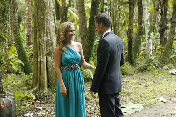 Clare, one of two remaining finalists, talks to host Chris Harrison in St. Lucia in a scene from the season 18 finale of ABC&#39;s &#39;The Bachelor,&#39; which aired on March 10, 2014. <span class=meta>(ABC Photo &#47; Rick Rowell)</span>