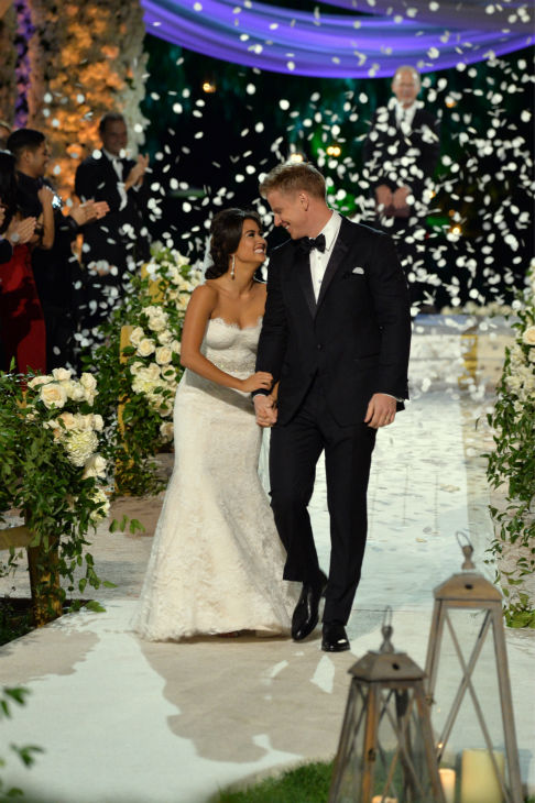 &#39;The Bachelor&#39; season 17 star Sean Lowe and his new bride Catherine Giudici walk down the aisle after making their vows at their wedding at the Four Seasons Biltmore hotel in Santa Barbara, California. The event aired live on TV as part of ABC&#39;s &#39;The Bachelor: Sean and Catherine&#39;s Wedding&#39; special on Jan. 26, 2014. <span class=meta>(ABC Photo &#47; Todd Wawrychuk)</span>