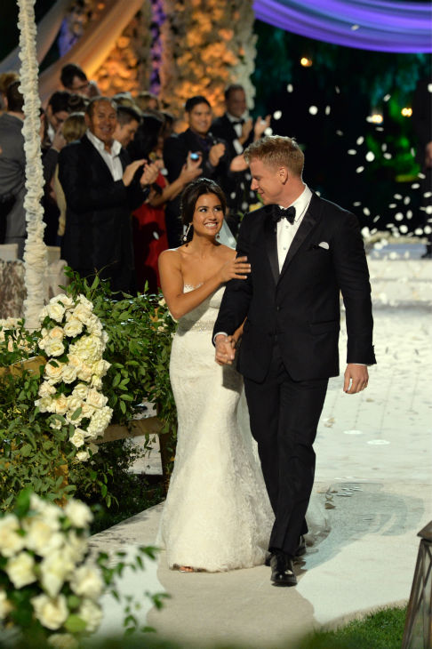 "<div class=""meta ""><span class=""caption-text "">'The Bachelor' season 17 star Sean Lowe and his new bride Catherine Giudici walk down the aisle after tying the knot at the Four Seasons Biltmore hotel in Santa Barbara, California, live on TV as part of ABC's 'The Bachelor: Sean and Catherine's Wedding' special on Jan. 26, 2014. (ABC Photo / Todd Wawrychuk)</span></div>"
