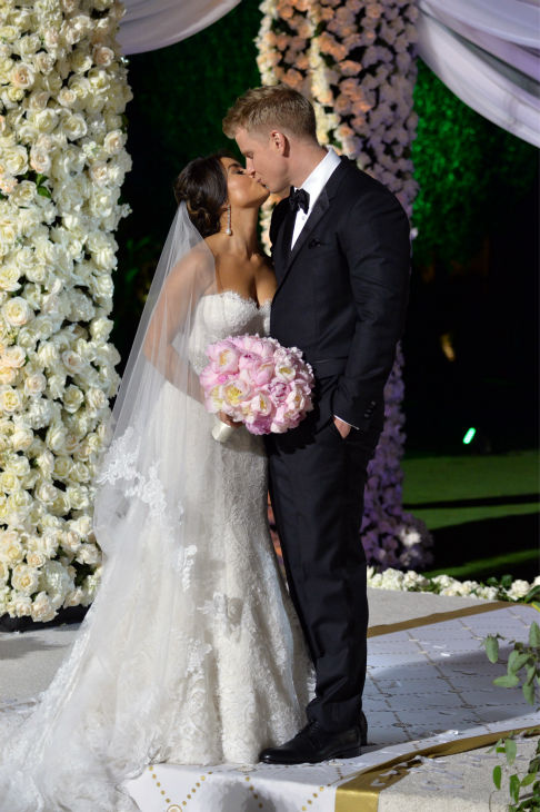 "<div class=""meta ""><span class=""caption-text "">'The Bachelor' season 17 star Sean Lowe and his new bride Catherine Giudici kiss after tying the knot at the Four Seasons Biltmore hotel in Santa Barbara, California, live on TV as part of ABC's 'The Bachelor: Sean and Catherine's Wedding' special on Jan. 26, 2014. (ABC Photo / Todd Wawrychuk)</span></div>"