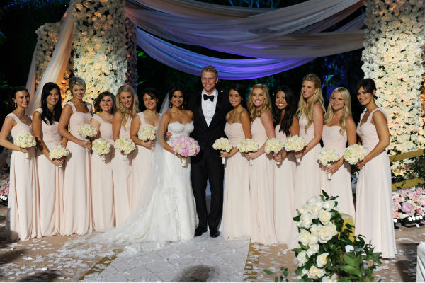 "<div class=""meta ""><span class=""caption-text "">'The Bachelor' season 17 star Sean Lowe and his new bride Catherine Giudici pose with their bridesmaids at their wedding at the Four Seasons Biltmore hotel in Santa Barbara, California. The event aired live on TV as part of ABC's 'The Bachelor: Sean and Catherine's Wedding' special on Jan. 26, 2014. The bride and bridesmaids are wearing Monique Lhuillier gowns. (ABC Photo / Todd Wawrychuk)</span></div>"
