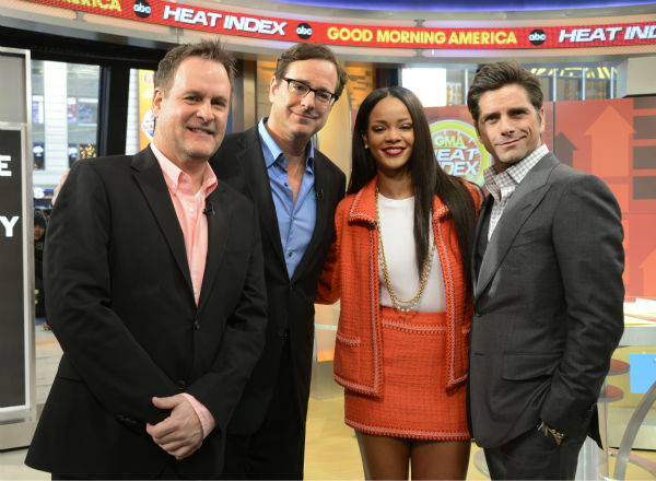 &#39;Full House&#39; alumni Dave Coulier, Bob Saget and John Stamos pose with fellow guest Rihanna on ABC&#39;s &#39;Good Morning America,&#39; which featured a &#39;Full House&#39; mini-reunion, on Jan. 29, 2014. The actors were there to promote an Oikos Greek yogurt ad that will air during the Super Bowl on Sunday, Feb. 2. <span class=meta>(ABC &#47; Ida Mae Astute)</span>