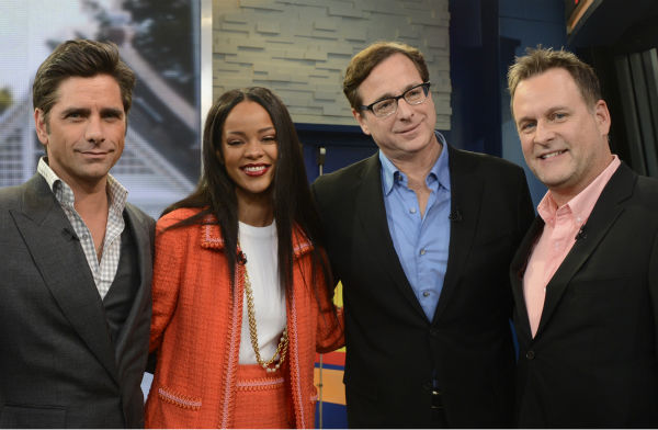 &#39;Full House&#39; alumni John Stamos, Bob Saget and Dave Coulier pose with fellow guest Rihanna on ABC&#39;s &#39;Good Morning America,&#39; which featured a &#39;Full House&#39; mini-reunion, on Jan. 29, 2014. The actors were there to promote an Oikos Greek yogurt ad that will air during the Super Bowl on Sunday, Feb. 2. <span class=meta>(ABC &#47; Ida Mae Astute)</span>