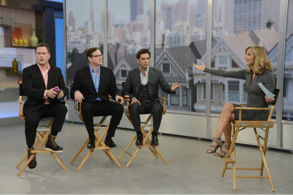 &#39;Full House&#39; alumni Dave Coulier, Bob Saget and John Stamos are interviewed by ABC&#39;s &#39;Good Morning America&#39; personality Lara Spencer on the show, which featured a &#39;Full House&#39; mini-reunion, on Jan. 29, 2014. The actors reunited on the program to promote an Oikos Greek yogurt ad that will air during the Super Bowl on Sunday, Feb. 2. <span class=meta>(ABC &#47; Ida Mae Astute)</span>