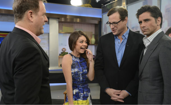 &#39;Full House&#39; alumni Dave Coulier, Bob Saget and John Stamos are pictured with Sarah Hyland of ABC&#39;s &#39;Modern Family&#39; on the network&#39;s show &#39;Good Morning America&#39; on Jan. 29, 2014. The actors reunited on the program to promote an Oikos Greek yogurt ad that will air during the Super Bowl on Sunday, Feb. 2. <span class=meta>(ABC &#47; Ida Mae Astute)</span>
