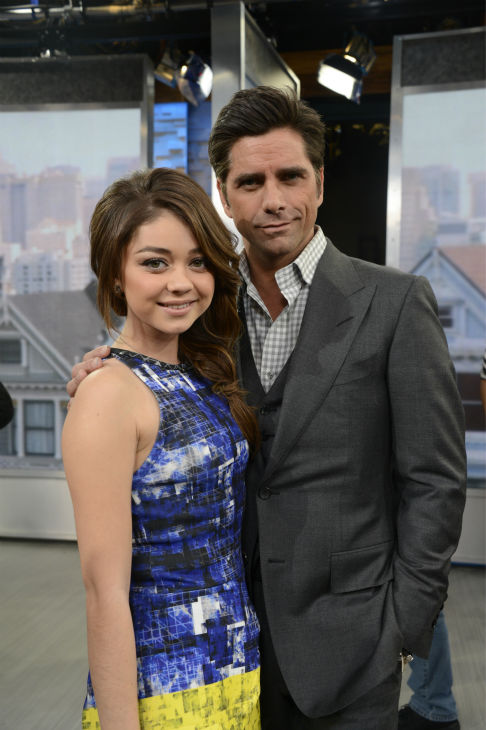 &#39;Full House&#39; alum John Stamos is pictured with Sarah Hyland of ABC&#39;s &#39;Modern Family&#39; on the network&#39;s show &#39;Good Morning America&#39; on Jan. 29, 2014. He and former co-stars Bob Saget and Dave Coulier reunited on the program to promote an Oikos Greek yogurt ad that will air during the Super Bowl on Sunday, Feb. 2. <span class=meta>(ABC &#47; Ida Mae Astute)</span>