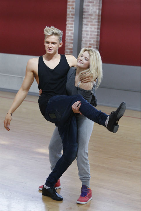 &#39;Dancing With The Stars&#39; celebrity contestant and Australian singer Cody Simpson appears with partner Witney Carson at a reheasal before the season 18 premiere of the ABC show on March 17, 2014. <span class=meta>(ABC Photo &#47; Rick Rowell)</span>