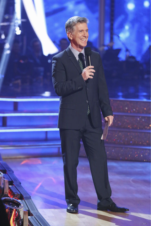 "<div class=""meta image-caption""><div class=""origin-logo origin-image ""><span></span></div><span class=""caption-text"">Co-host Tom Bergeron appears on week 1 of ABC's 'Dancing With The Stars' on March 17, 2014. (ABC Photo / Adam Taylor)</span></div>"