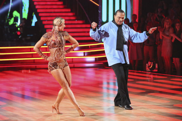 "<div class=""meta image-caption""><div class=""origin-logo origin-image ""><span></span></div><span class=""caption-text"">Billy Dee Williams and Emma Slater dance a 'Star Wars'-themed Cha Cha Cha on week 1 of ABC's 'Dancing With The Stars' on March 17, 2014. They received 15 out of 30 points from the judges. Williams played Lando Calrissian in the original film trilogy. (ABC Photo / Adam Taylor)</span></div>"
