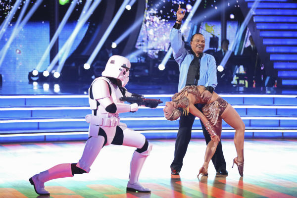 Billy Dee Williams and Emma Slater dance a &#39;Star Wars&#39;-themed Cha Cha Cha on week 1 of ABC&#39;s &#39;Dancing With The Stars&#39; on March 17, 2014. They received 15 out of 30 points from the judges. Williams played Lando Calrissian in the original film trilogy. <span class=meta>(ABC Photo &#47; Adam Taylor)</span>