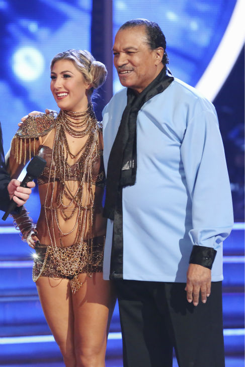 "<div class=""meta image-caption""><div class=""origin-logo origin-image ""><span></span></div><span class=""caption-text"">Billy Dee Williams and Emma Slater danced a 'Star Wars'-themed Cha Cha Cha on week 1 of ABC's 'Dancing With The Stars' on March 17, 2014. They received 15 out of 30 points from the judges. Williams played Lando Calrissian in the original film trilogy. (ABC Photo / Adam Taylor)</span></div>"