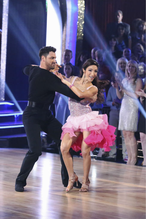 Meryl Davis and Maksim Chmerkovskiy dance the Cha Cha Cha on week 1 of ABC's 'Dancing With The Stars' on March 17, 2014. They received 24 out of 30 points from the judges.