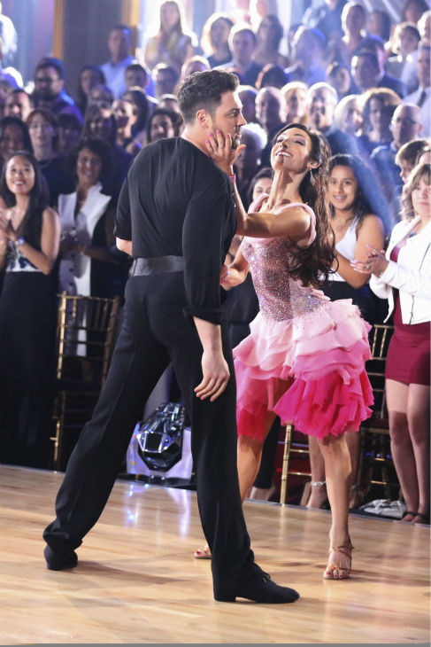 "<div class=""meta ""><span class=""caption-text "">Olympic gold medalist and ice dancing champion Meryl Davis and Maksim Chmerkovskiy dance the Cha Cha Cha on week 1 of ABC's 'Dancing With The Stars' on March 17, 2014. They received 24 out of 30 points from the judges. (ABC Photo / Adam Taylor)</span></div>"