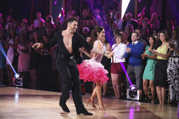 "<div class=""meta image-caption""><div class=""origin-logo origin-image ""><span></span></div><span class=""caption-text"">Olympic gold medalist and ice dancing champion Meryl Davis and Maksim Chmerkovskiy dance the Cha Cha Cha on week 1 of ABC's 'Dancing With The Stars' on March 17, 2014. They received 24 out of 30 points from the judges. (ABC Photo / Adam Taylor)</span></div>"