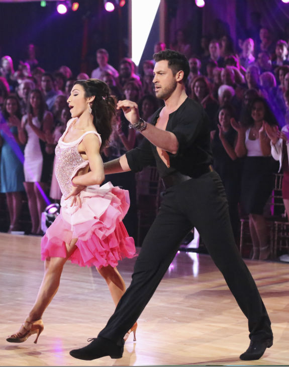 Olympic gold medalist and ice dancing champion Meryl Davis and Maksim Chmerkovskiy dance the Cha Cha Cha on week 1 of ABC&#39;s &#39;Dancing With The Stars&#39; on March 17, 2014. They received 24 out of 30 points from the judges. <span class=meta>(ABC Photo &#47; Adam Taylor)</span>