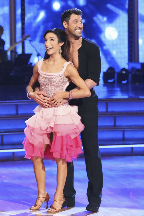 Olympic gold medalist and ice dancing champion Meryl Davis and Maksim Chmerkovskiy danced the Cha Cha Cha on week 1 of ABC&#39;s &#39;Dancing With The Stars&#39; on March 17, 2014. They received 24 out of 30 points from the judges. <span class=meta>(ABC Photo &#47; Adam Taylor)</span>