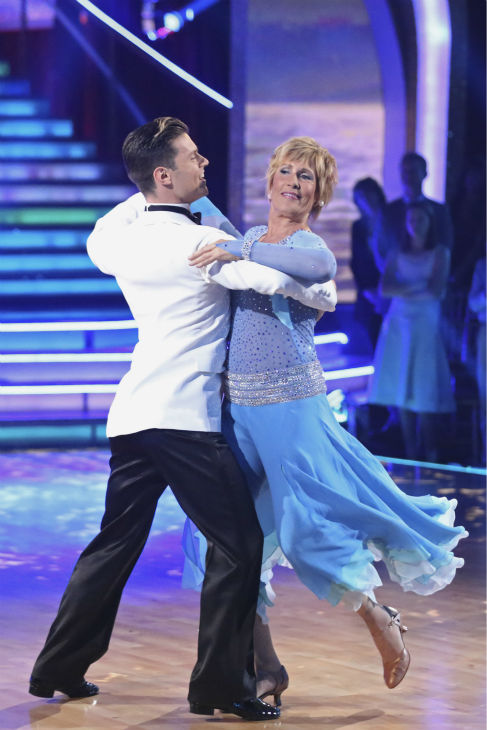 Diana Nyad, who in 2013, famously became the first person to swim from Cuba to Florida without a shark cage, and partner Henry Byalikov dance the Foxtrot on week 1 of ABC&#39;s &#39;Dancing With The Stars&#39; on March 17, 2014. They received 18 out of 30 points from the judges. <span class=meta>(ABC Photo &#47; Adam Taylor)</span>