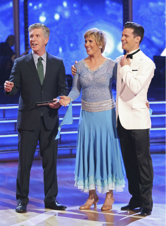 Diana Nyad, who in 2013, famously became the first person to swim from Cuba to Florida without a shark cage, and partner Henry Byalikov danced the Foxtrot on week 1 of ABC&#39;s &#39;Dancing With The Stars&#39; on March 17, 2014. They received 18 out of 30 points from the judges. <span class=meta>(ABC Photo &#47; Adam Taylor)</span>