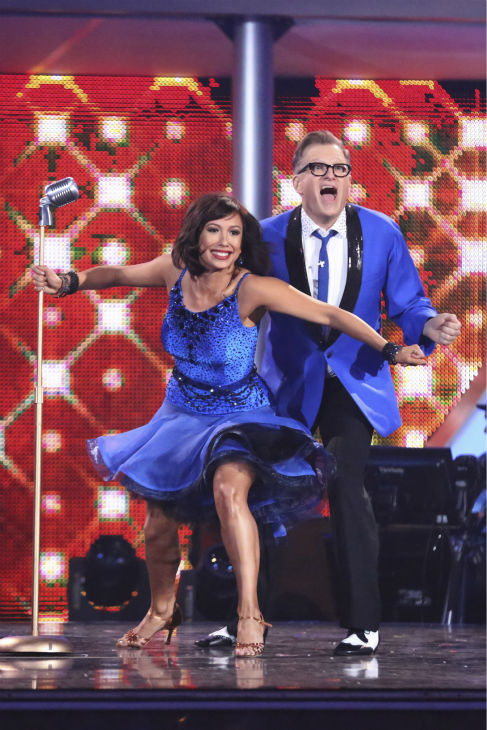 "<div class=""meta ""><span class=""caption-text "">Drew Carey and Cheryl Burke dance the Jive on week 2 of 'Dancing With The Stars' on March 24, 2014. They received 21 out of 30 points from the judges. (ABC Photo / Adam Taylor)</span></div>"
