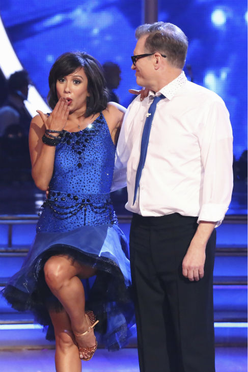 Drew Carey and Cheryl Burke react to being safe from elimination on week 2 of &#39;Dancing With The Stars&#39; on March 24, 2014. They received 21 out of 30 points from the judges for their Jive. <span class=meta>(ABC Photo&#47; Adam Taylor)</span>
