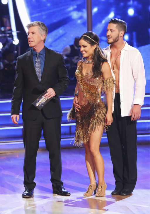 Danica McKellar of &#39;The Wonder Years&#39; fame and Valentin Chmerkovskiy react to being safe from elimination on week 2 of &#39;Dancing With The Stars&#39; on March 24, 2014. They received 24 out of 30 points from the judges for their Samba. Also pictured: Host Tom Bergeron. <span class=meta>(ABC Photo &#47; Adam Taylor)</span>