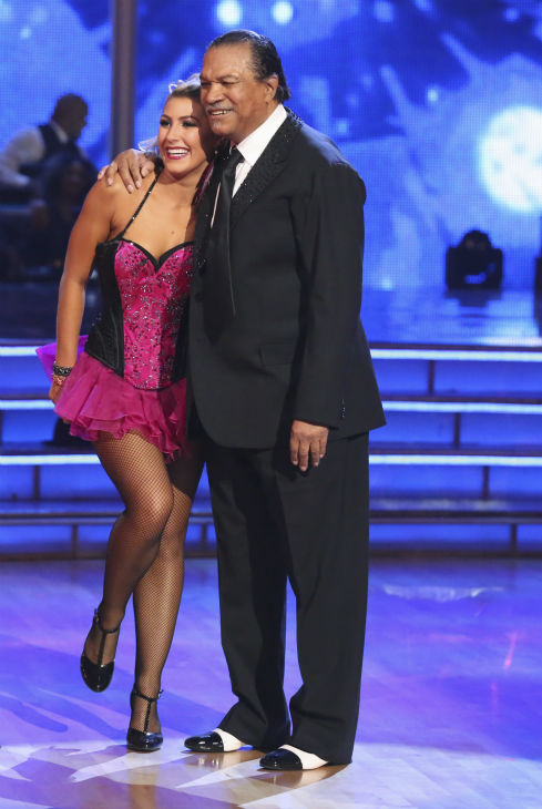 Billy Dee Williams of &#39;Star Wars&#39; fame and Emma Slater await their fate on week 2 of &#39;Dancing With The Stars&#39; on March 24, 2014. They received 15 out of 30 points from the judges for their Tango. <span class=meta>(ABC Photo &#47; Adam Taylor)</span>